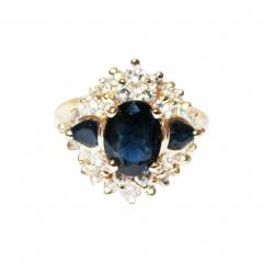Most Gorgeous Natural Blue Sapphire Diamond Ring 14KT Yellow Gold - 1676518