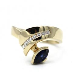 Most Gorgeous Natural Blue Sapphire Diamond Ring 14KT Yellow Gold - 1770659
