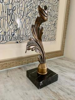 Mounted Brass Feather Architectural Element Paper Weight Bookend - 1725244