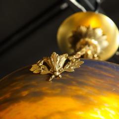 Muller Fr res Art Deco Antiqued Brass and Hand Blown Mottled Glass Chandelier by Muller Fr res - 1866234