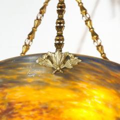 Muller Fr res Art Deco Antiqued Brass and Hand Blown Mottled Glass Chandelier by Muller Fr res - 1866247