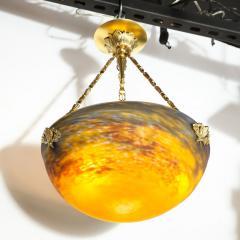 Muller Fr res Art Deco Antiqued Brass and Hand Blown Mottled Glass Chandelier by Muller Fr res - 1866248