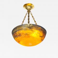 Muller Fr res Art Deco Antiqued Brass and Hand Blown Mottled Glass Chandelier by Muller Fr res - 1873486