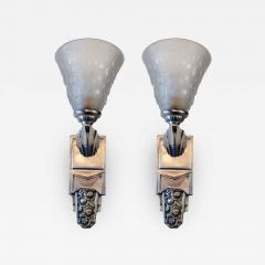 Muller Fr res Beautiful Pair of French Art Deco Sconces Signed Muller Fr res Luneville - 1838891