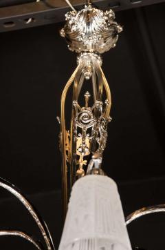 Muller Fr res Exquisite Art Deco Nickeled Bronze Chandelier by Muller Fr res - 1483668