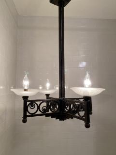 Muller Fr res French Art Deco Wrought Iron and Glass Chandelier - 1747281
