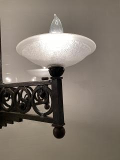 Muller Fr res French Art Deco Wrought Iron and Glass Chandelier - 1747285