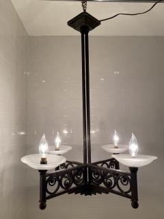 Muller Fr res French Art Deco Wrought Iron and Glass Chandelier - 1747287