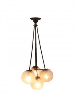 Muller Fr res Muller Fr res Luneville Art Deco 4 Ball Chandelier in Pressed Molded Glass - 1238000