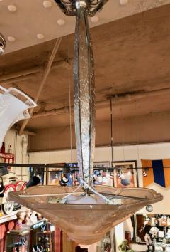 Muller Fr res Muller Freres Nickel Iron Hanging Chandelier Pink - 1352341