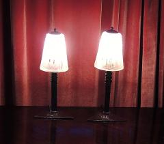 Muller Fr res Pair of Peach Art Deco Muller Glass and Iron Lamps - 123497