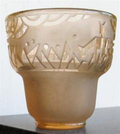 Muller Fr res Signed M ller Fr res Luneville 1930s Art Deco Glass Vase - 1418774