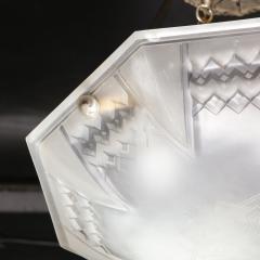 Muller Fr res Signed Muller Fr res Art Deco Frosted Glass Chandelier with Skyscraper Detailing - 1733197