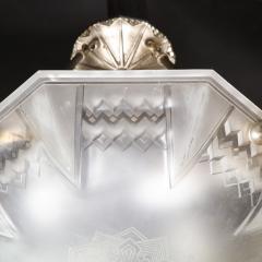 Muller Fr res Signed Muller Fr res Art Deco Frosted Glass Chandelier with Skyscraper Detailing - 1733209