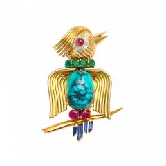 Multi Gemstone Bird Brooch - 259355