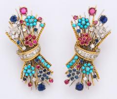 Multi Gemstone Bouquet Earrings - 597570