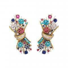 Multi Gemstone Bouquet Earrings - 598817