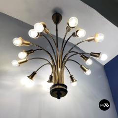 Multi light brass chandelier 1950s - 2102750