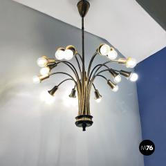 Multi light brass chandelier 1950s - 2102757