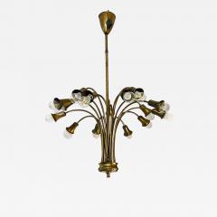 Multi light brass chandelier 1950s - 2106126