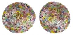 Multicolor Flowers Basket Murano Glass Ceiling Light - 1300683