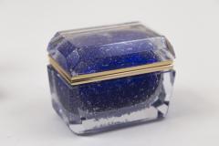 Murano Cobalt Blue Pulegoso Chamfered Rectangular Box - 1710238