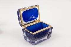 Murano Cobalt Blue Pulegoso Chamfered Rectangular Box - 1710240