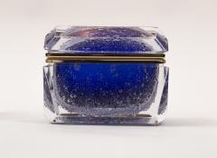 Murano Cobalt Blue Pulegoso Chamfered Rectangular Box - 1710242