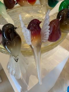 Murano Glass Birdbath with 16 Birds - 2140329