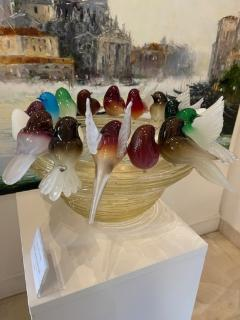 Murano Glass Birdbath with 16 Birds - 2140330