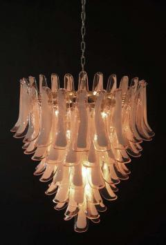 Murano Glass Pink and White Petals Chandelier Italian Modern 1980s - 1622493