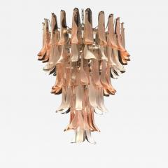 Murano Glass Pink and White Petals Chandelier Italian Modern 1980s - 1624841