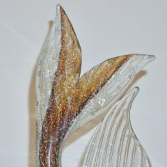 Murano Sommerso Amber and Silver Flecks Art Glass Fish Sculpture - 1123419
