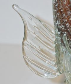 Murano Sommerso Amber and Silver Flecks Art Glass Fish Sculpture - 1123420