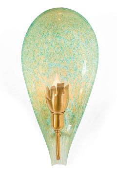 Murano Variegated Green and Gold Glass Sconces Italy 1940s - 1295325