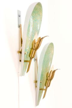 Murano Variegated Green and Gold Glass Sconces Italy 1940s - 1295326