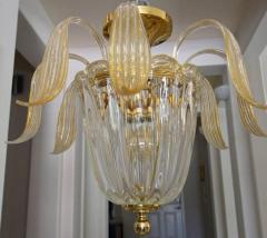 Murano glass clear leaves pendant light with 24k gold flecks - 1698221