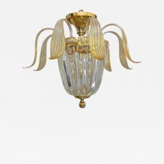 Murano glass clear leaves pendant light with 24k gold flecks - 1698588