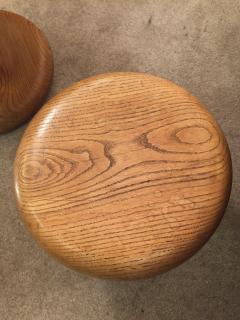 Mushroom shaped awesome rarest pair of 50s oak stools - 1168165