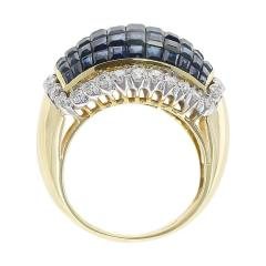 Mystery Set Blue Sapphire and Diamond Bombe Cocktail Ring 18 Karat Yellow Gold - 1795397