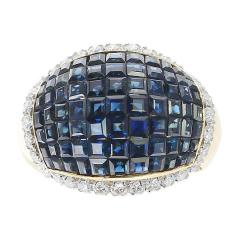 Mystery Set Blue Sapphire and Diamond Bombe Cocktail Ring 18 Karat Yellow Gold - 1795398