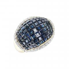 Mystery Set Blue Sapphire and Diamond Bombe Cocktail Ring 18 Karat Yellow Gold - 1797656