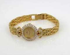 NEW OLD STOCK NEVER WORN BAUME MERCIER LADIES 18KT GOLD DIAMOND AND RUBY WATCH - 1087988