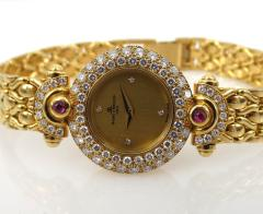 NEW OLD STOCK NEVER WORN BAUME MERCIER LADIES 18KT GOLD DIAMOND AND RUBY WATCH - 1087989