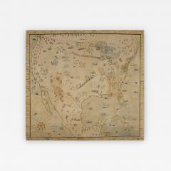Naive Map of America Crayon or Pastel on Muslin - 638026