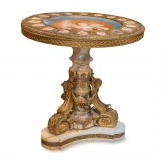 Napoleon III S vres style Gilt Bronze Mounted Onyx Table with Porcelain Plaques - 2034242