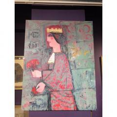 Nasser Ovissi Nasser Ovissi Iranian Born 1934 Queen Atosa Gold Oil on Canvas Painting - 1130462