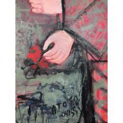 Nasser Ovissi Nasser Ovissi Iranian Born 1934 Queen Atosa Gold Oil on Canvas Painting - 1130463