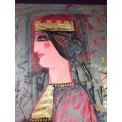 Nasser Ovissi Nasser Ovissi Iranian Born 1934 Queen Atosa Gold Oil on Canvas Painting - 1130464