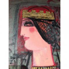 Nasser Ovissi Nasser Ovissi Iranian Born 1934 Queen Atosa Gold Oil on Canvas Painting - 1130468